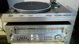 Toca disco e receiver mitsubishi