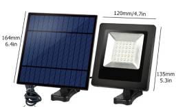Projetor solar 30 led com cabo de 5m lâmpada de parede com bateria solar