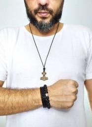 Kit masculino colar âncora, bracelete e pulseira
