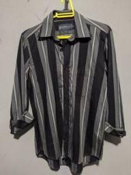 Título do anúncio: Camisa Preta com listras Agnelli Tam. P Nova