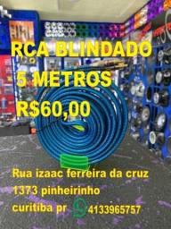 cabo rca blindado 5 metros 5m azul