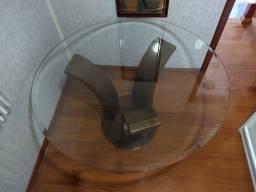 Mesa Redonda 1.4m diâmetro, vidro 12mm bisotê
