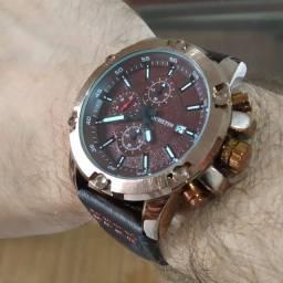 Relógio Masculino Ochstin Pulseira De couro Coroa Aço Inox