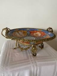 Antiga fruteira centro de mesa em porcelana/bronze