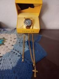 Título do anúncio: Relógio invicta e cordão e pusera prata banhada a ouro original