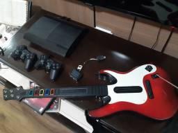 Ps3 play station 3 guitar hero jogos e 2 controles