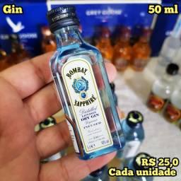 Miniatura Gin Bombay Sapphire - 50ml - Original, Lacrada e Licenciada