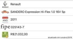 SANDERO 2011 - 17.400,00 - Tabela FIPE 21.082,00 - Oportunidade! - 2011