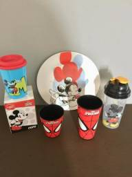 Kit Disney Mickey Oficial Original + 2 copos Homem Aranha