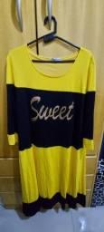 Vestido amarelo e preto tam GG