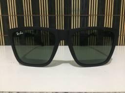 (Aceito cartão) Óculos solar unissex modelo quadrado, Lente: Esverdeada Ray Ban
