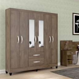 Guarda roupa 6 portas com espelho novo!