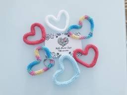 Coração em tricotin -chaveiro - lembrança