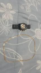 Relógio bvlgari e cordão banhado a ouro