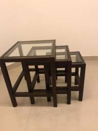 Conjunto Mesa lateral + tampo de vidro (Tokstok)