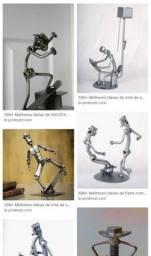 Bonecos artesanais em ferro