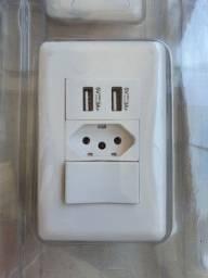 Título do anúncio: Tomada de Parede com Interruptor e 2 Portas USB