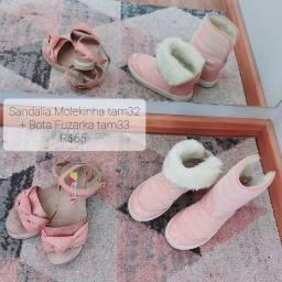 Título do anúncio: Bota + sandália menina tamanho 32/33