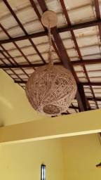 Lustre artesanal pendente barbante de fibra natural