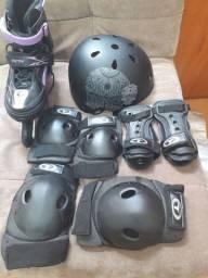 Kit proteção p patins e skate + capacete Traxart