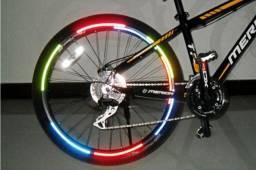 2 Cartelas Adesivo Refletivo Roda Bicicleta Bike Decorativo Colorido