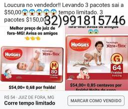 Fraldas Huggies 3 pacotes $150,00 corre!