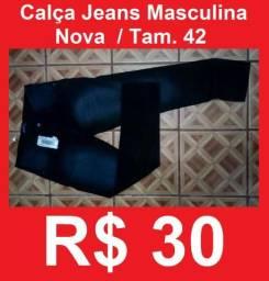 Calça Jeans 42 Masculina Nova Skinny bem Justa Moda em Promoção