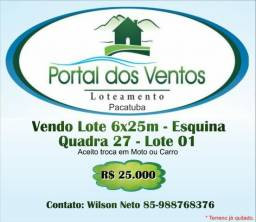 Vendo Lote no Loteamento Portal dos Ventos Pacatuba - CE