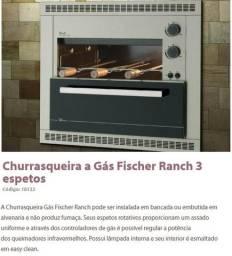 Churrasqueira a Gás Fischer Ranch 3 espetos de Bancada ou Embutir, Casa ou Apartamento