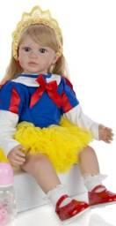 Boneca Bebe Reborn Princesa Branca de Neve 60cm + Pelúcia de Brinde
