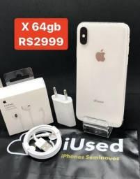 IPhone X 64gb Branco + Brindes - Aceitamos Cartão