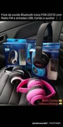 Fone de ouvido Bluetooth inova Headphone com FM, Cartão e auxiliar