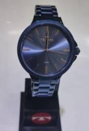 Relógio Technos Azul com ponteiros em Rosê -Feminino