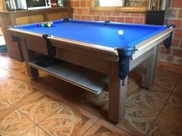 Mesa Tentação e Jantar Cor Cerejeira Tecido Azul Mod. AJPO9455