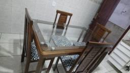 Mesa madeira maciça tampo vidro