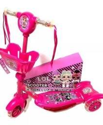 Patinet trisiculo Infantil 3rodas lol cestinha Scooters Luz/sons okm novo rosa