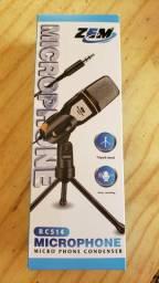 Microfone Condensador P2 Pc Notebook Com Tripé Profissional