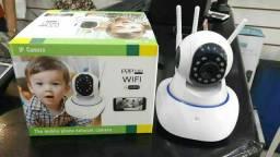 Câmera IP robô  WIFI com 3 Antenas e entrada para Cartão Micro SD