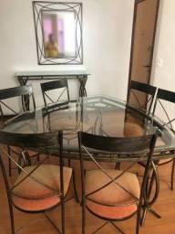 Título do anúncio: Conjunto com Mesa de 6 lugares + Aparador + Espelho ( metal e vidro)