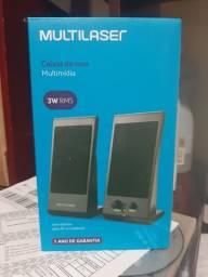 Caixa De Som Multilaser Flat 3W Rms Preto SP009