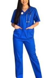 Pijama cirúrgico / scrub azul royal feminino/masculino