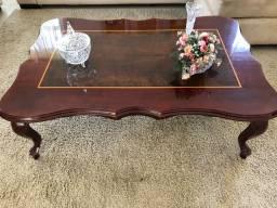 Mesa de centro + mesa de canto de mogno com aplique em marchetaria