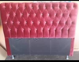 Título do anúncio: Cabeceira capitone veludo vermelho botões strass 1.40 cm