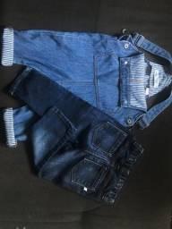 jardineira e calça jeans 12-18meses