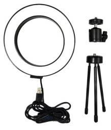 Ring Light 16cm com tripé de mesa para lives, fotos, vídeos, maquiagem e home office