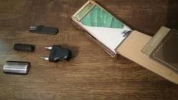 Maquina marca kemei nova lacrada com kit acessórios espelho bateria