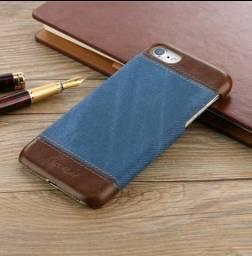 Capa Iphone 7 imitação jeans e couro
