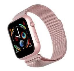 Smart watch sx16 pulseira milanesa rose lindo