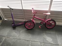 Bicicleta e patinete para criança