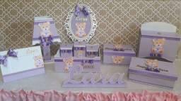 Kit Higiene Bebê Ursinha Lilás 11 peças